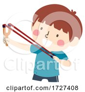 Poster, Art Print Of Kid Boy Childhood Memories Sling Shot Illustration