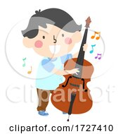 Kid Boy Play Upright Bass Music Notes Illustration