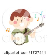 Poster, Art Print Of Kid Boy Play Banjo Music Notes Illustration