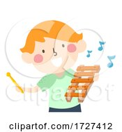 Poster, Art Print Of Kid Boy Hold Xylophone Music Notes Illustration