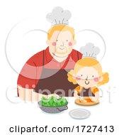 Kid Girl Man Slice Carrots Chef Illustration