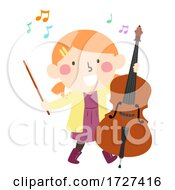 Kid Girl Play Upright Bass Music Illustration
