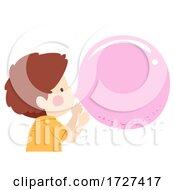 Kid Boy Bubble Gum Blow Illustration
