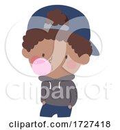 Kid Boy Chewing Gum Bubble Illustration