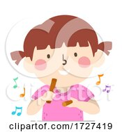 Kid Girl Play Claves Music Notes Illustration
