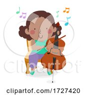 Poster, Art Print Of Kid Girl Play Cello Music Notes Illustration