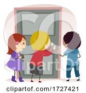 Stickman Kids Door Lock Illustration