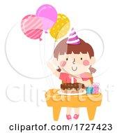 Kid Girl Class Desk Birthday Balloons Illustration