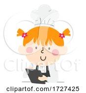 Kid Girl Chef Hat Apron Tablet Illustration