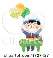 Kid Boy Muslim Class Birthday Balloon Illustration