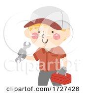 Kid Boy Mechanic Wrench Toolbox Play Illustration