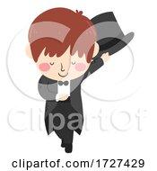Kid Boy Magician Bow Hat Costume Illustration
