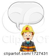 Kid Boy Fire Fighter Speech Bubble Illustration