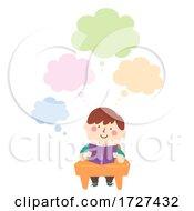 Poster, Art Print Of Kid Boy Fat Class Book Thinking Cloud Illustration