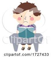 Kid Boy Class Study Stressed Book Illustration