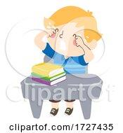 Kid Boy Class Desk Crying Illustration