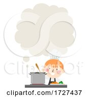 Kid Boy Chef Cooking Thinking Cloud Illustration