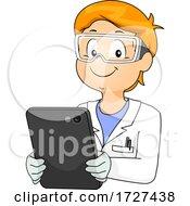 Kid Boy Book Lab Coat Hold Tablet Illustration