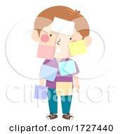 Kid Boy Blank Sticky Notes Illustration