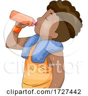 Poster, Art Print Of Boy Hydrating After Playing Sports Illustration