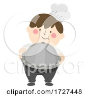 Kid Big Boy Chef Present Platter Illustration