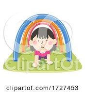 Kid Girl Pool Noodle Obstacle Course Illustration