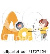 Kid Boy Archery Sport Alphabet Illustration