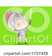 Poster, Art Print Of Kid Boy Costume Knight Green Screen Illustration
