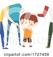 Kid Boy Communicating With Adults Illustration