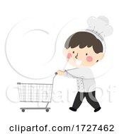 Kid Boy Chef Grocery Cart Ingredients Illustration