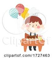Kid Boy Chef Class Desk Birthday Illustration