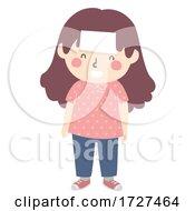 Kid Girl Forehead Blank Note Illustration