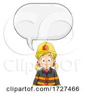 Kid Girl Fire Fighter Speech Bubble Illustration