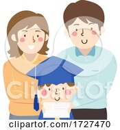 Kid Parents Graduation Certificate Illustration