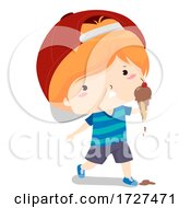 Kid Melted Ice Cream Adjective Sense Illustration