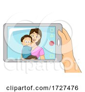 Dad Mother Son Mobile Video Call Illustration