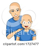 Mom Kid Girl Alopecia Sick Illustration