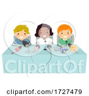 Poster, Art Print Of Kids Press Conference Microphones Illustration