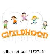 Poster, Art Print Of Stickman Kids Childhood Lettering Illustration