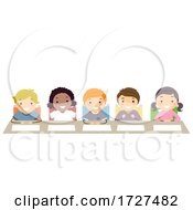 Poster, Art Print Of Stickman Kids Panel Table Judges Illustration