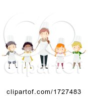 Stickman Kids Chef Teacher Class Illustration