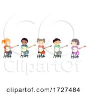Poster, Art Print Of Stickman Kids Banjo Tutorial Class Illustration