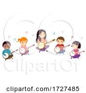 Poster, Art Print Of Stickman Kids Banjo Lesson Teacher Illustration