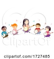 Stickman Kids Banjo Lesson Teacher Illustration