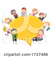 Stickman Kids News Speech Bubble Illustration