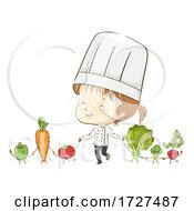Kid Girl Chef Vegetable Mascots Unite Illustration