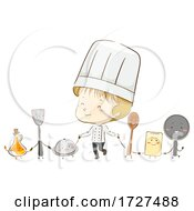 Kid Boy Chef Cooking Tools Mascots Illustration