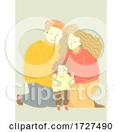 Family Dad Mom Hug Child Kid Girl Illustration