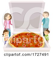 Stickman Family Big Pizza Box Illustration