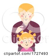 Dad Kid Girl Parent Fix Hair Illustration